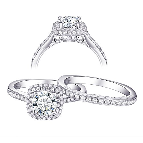 Newshe Wedding Rings for Women Engagement Set AAA Cz 1.6ct Round 925 Sterling Silver White Size 8