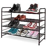 YOMYM シューズラック 多機能収納ラックフレーム 靴棚 下駄箱 ブーツ玄関収納 積み重ねおよび棚板高さ調節可能 組み立て式 特大容量 省スペース フィットブーツ、ハイヒール、スリッパなど適用(ブロンズ) (4段)