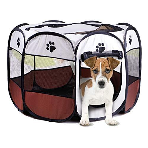 Autda Laufstall für Welpen, 8-teilig, tragbar, für Hunde, Katzen, kleine Tiere, waschbar, Netzstoff, Abdeckung für den Innenbereich, wasserdicht, fest gegen Verriegelung, abnehmbar