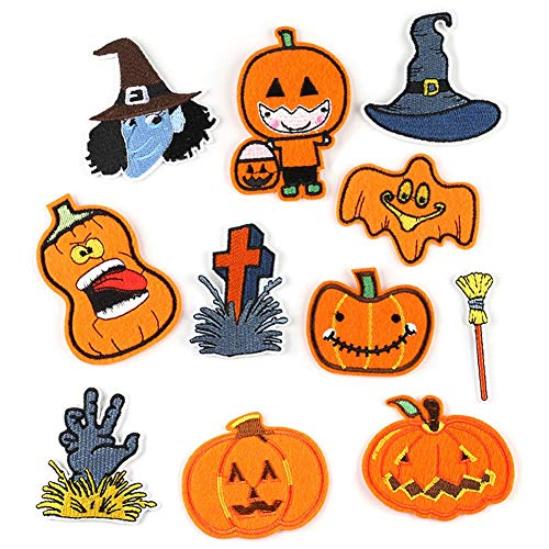 FRIUSATE 10Pcs Iron-on Patches, Halloween Pumpkin Embroidery Applique Patches Sew On Patches and...