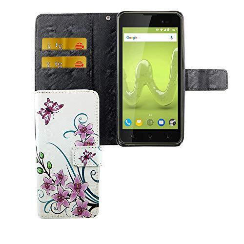 König Design Handyhülle Kompatibel mit Wiko Sunny 2 Plus Handytasche Schutzhülle Tasche Flip Hülle mit Kreditkartenfächern - Lotusblume Pink Weiß