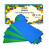 Base Plates 5'x10' Variety Baseplates for Brick Block Building Compatible all Major Brands Blue and Green Baseboard With Pin-hole (6-Pack)