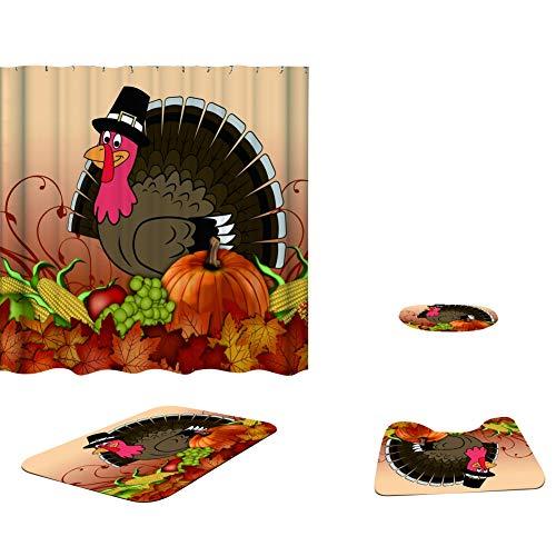 Leezo Halloween Duschvorhang, Kürbis Hexe Polyester Stoff Bad Zubehör Duschvorhänge Dekor mit 12 PCS Haken 72 X 72 Zoll, wasserdichte