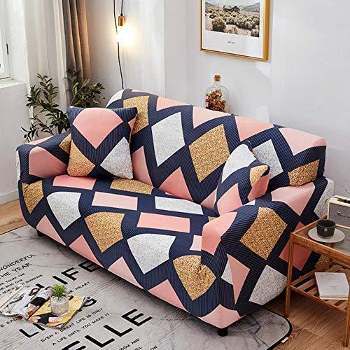 KKDIY Funda de sofá elástica geométrica de Cuatro Estaciones Funda de sofá seccional elástica con Forma de Cuadros para Mascotas One Two Three Four Seat-CY, 3 plazas 190-230cm