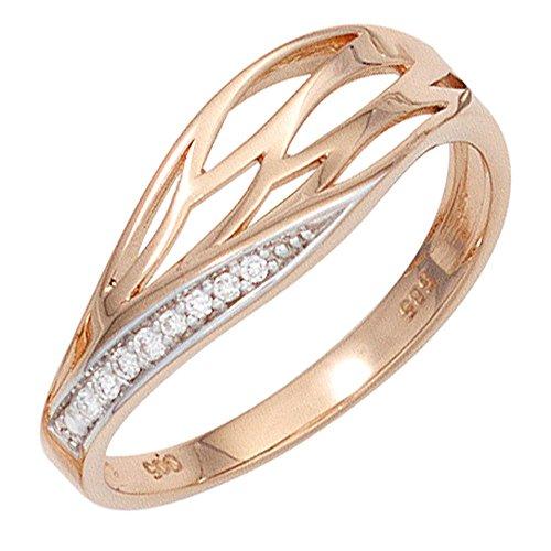 Schmuck-Krone - Goldschmuck FINERING - Anello, con Diamante, Oro rosso, misura 14