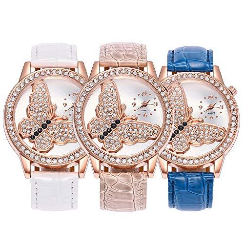 Souarts Damen Weiß Schmetterling Strass Armbanduhr Quartz Analog Armreif Uhr mit Batterie (Weiss+Rot+Blau)