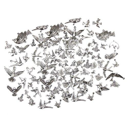 DYNWAVE チベットシルバー 鳥のチャーム ペンダント ルースビーズ DIY ネックレス ブレスレット 約100個入り
