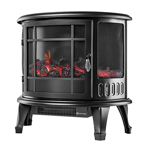 """AuAg Electric Fireplace, Wood Stove Heater Freestanding, 1500W Log Flame Effect with Thermostat Control, Portable Indoor Space Heater (Black, 23"""" 22"""" 11"""")"""