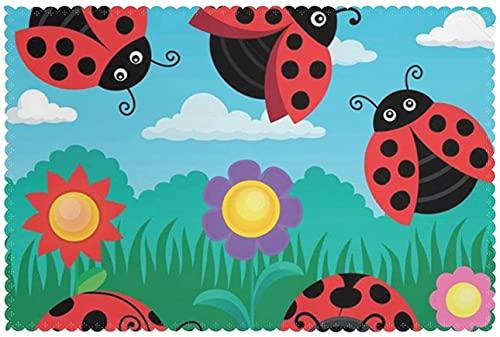 Manteles individuales de paisaje de Ladybug de 30,5 x 45,7 cm antideslizantes y camino de mesa con patrón de geometría, juego de 6 para boda