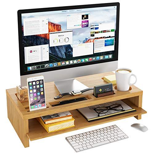 Homfa Soporte Monitor Ordenador Elevador de Monitor Pantalla Organizador para Escritorio Bambú con 2 Estantes 60x30x15cm
