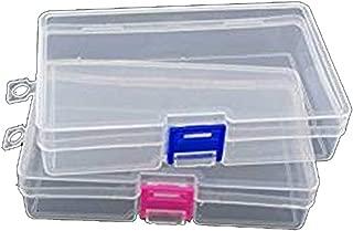 yueton Pack of 2 Plastic Transparent Storage Box Jewelry Craft Nail Art Beads Container Organizer