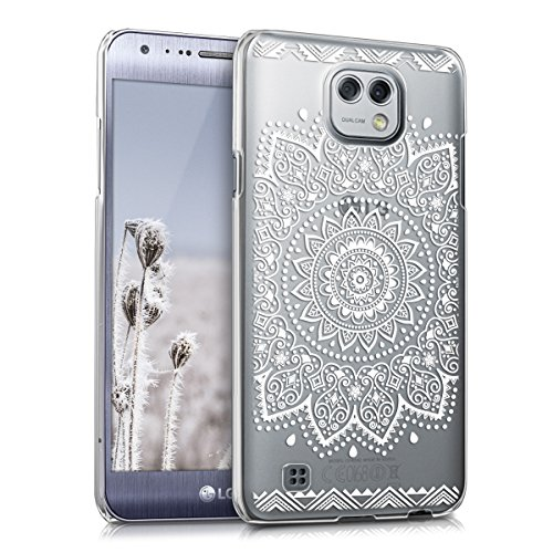 kwmobile Funda Compatible con LG X CAM - Carcasa para móvil - Protector Trasero Flor Blanco/Transparente