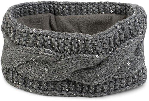 styleBREAKER Damen Stirnband Grobstrick mit Zopfmuster und Pailletten, warmes Fleece Innenfutter, Haarband, Headband 04026002, Farbe:Grau