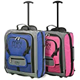 MiniMax Childrens/Kids <span class='highlight'>Luggage</span> Carry On Trolley Suitcase with Backpack and Pouch for Your Favourite Doll/Action Figure/Bear (Blue   Pink)