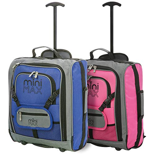 MiniMax Childrens/Kids Luggage Carry On Trolley Suitcase with Backpack and Pouch for Your Favourite Doll/Action Figure/Bear (Blue + Pink)