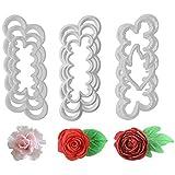 Herramienta de glaseado de fondant, 9 piezas de rosas, claveles peonías 3D, cortador de pasteles de...