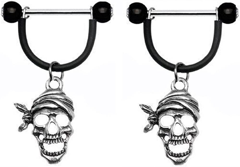 Body Accentz Nipple Shield Rings Barbell Barbells Sold as a Pair 14 Gauge Pirate Skulls
