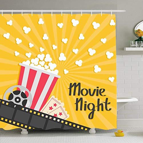 N/A Douche Gordijn 72x72 Inch Rode Cinema Popcorn Popping Grote Reel Ticket Cinematografie Eten drinken Flat Night Premiere Ontwerp Zout Waterdichte Polyester Stof Badkamer Gordijnen Set met Haken