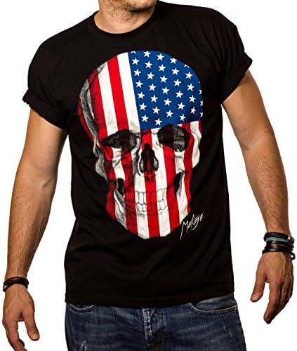 MAKAYA Camiseta con la Bander Americana