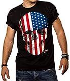 MAKAYA Camiseta con la Bander Americana - USA - Negra L