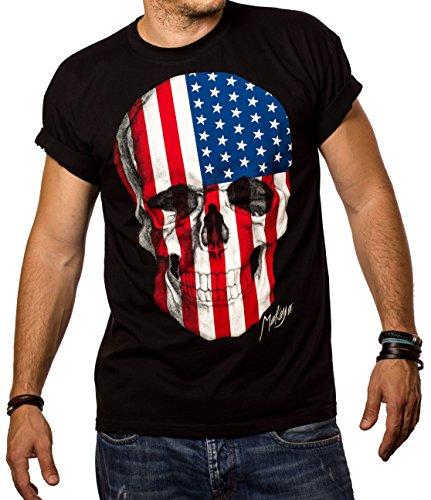 Totenkopf T-Shirt für Herren Amerika USA Flagge Skull XXXL