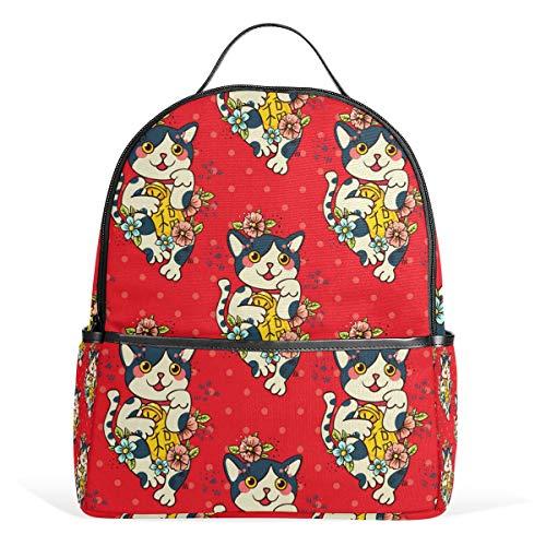 Mochila de Lona con diseño de Gatos de la Suerte de Japón, diseño de Gatos Neko con Flores Rojas, de Gran Capacidad, para niños, niñas y Estudiantes