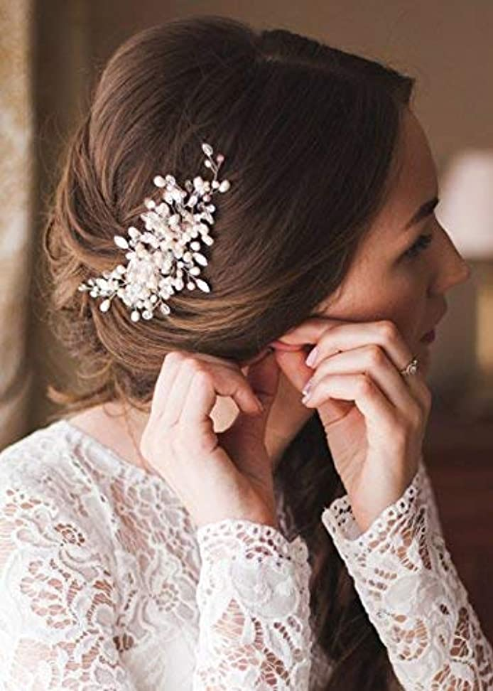 シットコム徹底規模Kercisbeauty Wedding Bridal Bridesmaids Flower Girl Vintage Crystal Pearl Combs Headband Bridal Hair Comb Headpiece Long Curly Bun Hair Accessories,Wedding Hair Piece Vintage Hair Comb (Rose Gold) [並行輸入品]
