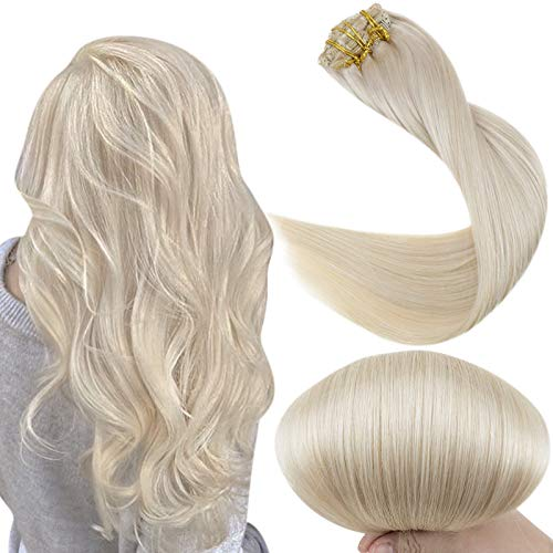 Fshine Clip In Hair Extensions 22 Inch Platinum Blonde Clip Hair Extensions Human Hair 7 Pcs 100 Gram Straight Remy Hair Extensions Clip Ins Double Weft Clip In Hair
