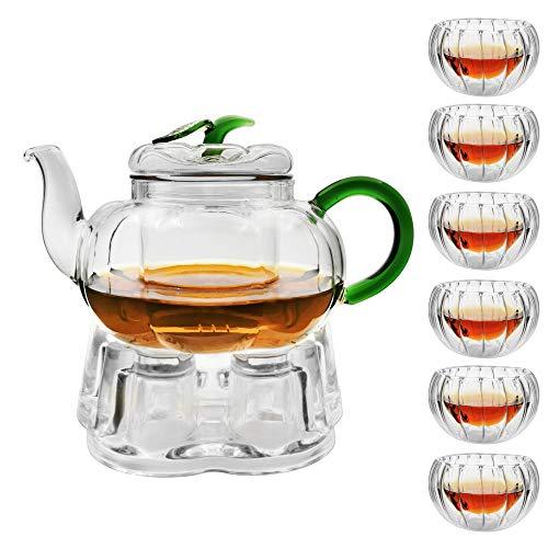癒し 耐熱ガラス ティーポット 茶こし付き ガラス 急須 保温 キャンドルウォーマー ティーウォーマン セット ティーフォーツー ガラス製ポット 紅茶 フルーツティー リーフティー 花茶 工芸茶 ハーフティー に 直火可,筋入ティーポットとハートウォーマー
