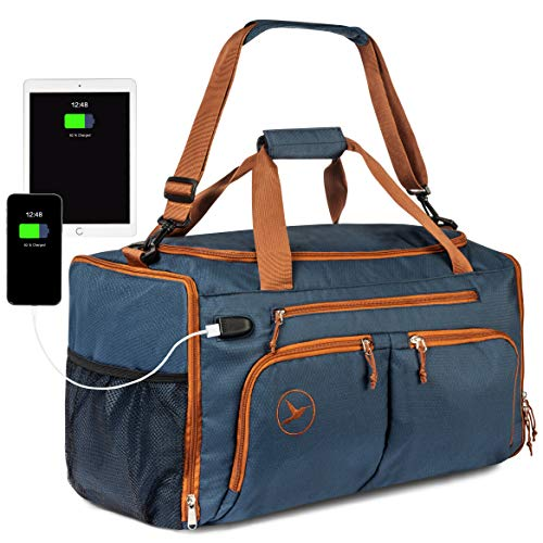 Hummingway Large Duffel Gym Bag: Navy Blue Sports Duffle Bag for Men and Women