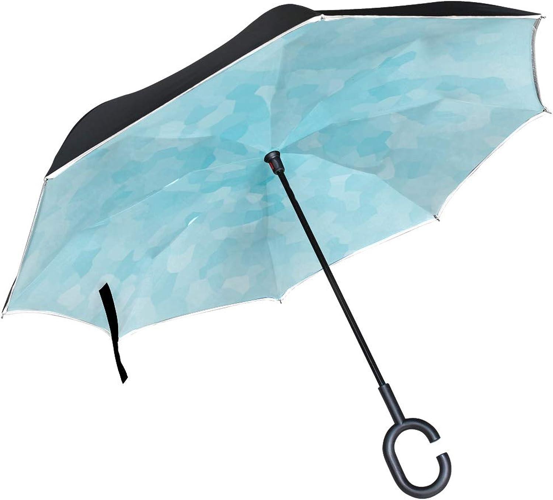 550ed8969e2d Double Layer Aqua bluee Umbrellas Reverse Folding Umbrella Windproof ...