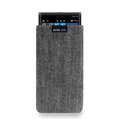Adore June Business Tasche für Nokia Lumia 830 Handytasche aus charakteristischem Fischgrat Stoff - Grau/Schwarz | Schutztasche Zubehör mit Bildschirm Reinigungs-Effekt | Made in Europe