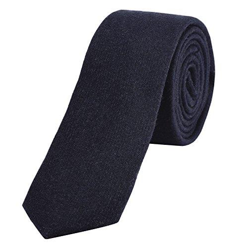 DonDon Corbata estrecha de algodón para hombres de 6 cm - azul marino