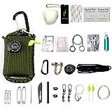 HW Kit De Supervivencia De Emergencia, 29 En 1 Granate Paracord Mini Kits De Primeros Auxilios Set De Arranque De Fuego De Silbato Cebos De Supervivencia Brújula,Green