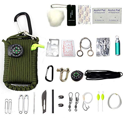HW Survival – Kit,23 Teiliges Set ALS Überlebensausrüstung, Outdoor Set, Survival Set,Green