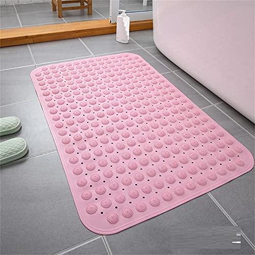 Pink Safety PROTECTORIO Ambiente PROTECCIÓN del Ambiente Anti-Skid Mat BAÑO Masaje de pie Drenaje rápido-47x49cm Alfombra de baño antibacteriana Lavable a máquinaFuerte adsorción al vacío antide