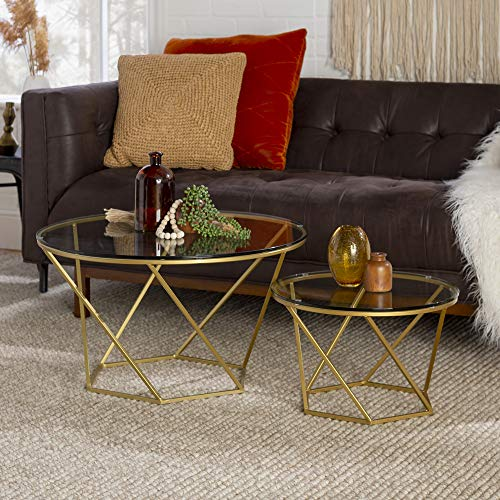 Walker Edison Furniture Company Modern Round Nesting Coffee Accent Table Living Room, Gold