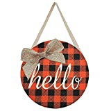 Fall Wreaths for Front Door - Fall Decor for Home - Orange Buffalo Check Plaid Burlap Hello Sign Door Hanger - Fall Wreath for Autumn Halloween Thanksgiving Harvest Farmhouse Porch Wall Decorations