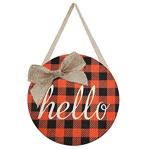 Fall Wreaths for Front Door - Fall Decor for Home - Orange Buffalo Check Plaid Burlap Hello Sign...
