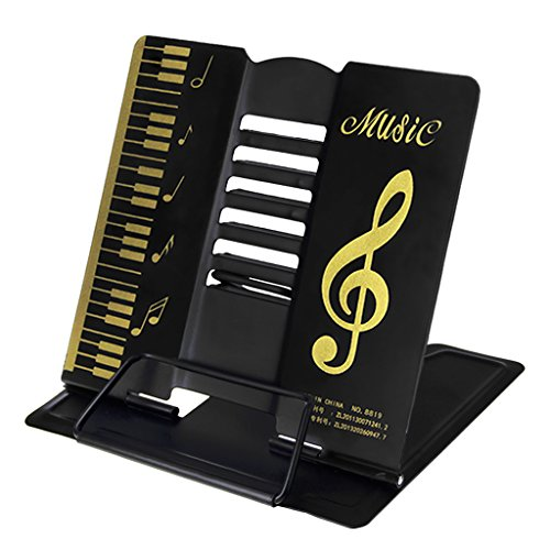 LY, leggio in metallo per libro, pieghevole, portatile, supporto regolabile da tavolo, per musica o libri di cucina, metallo, Black, taglia unica