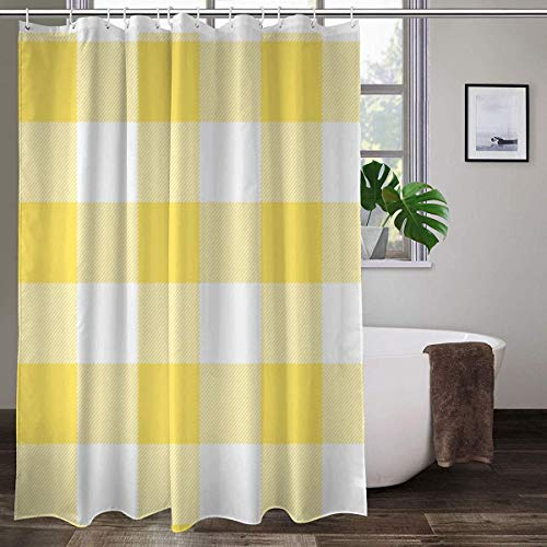 Rustic Yellow and White Buffalo Check Plaid Shower Curtains...