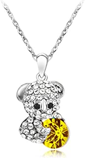 Fine Crystal Cartoon Cute Bear Necklaces Pendants Long Sweater Chain Necklaces For Women And Men
