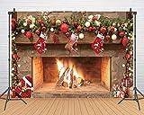 CHAIYA 7x5ft Christmas Background Christmas Fireplace Christmas Tree Socks Gift Box Photography Backgroun New Year Party Background Decoration CY129