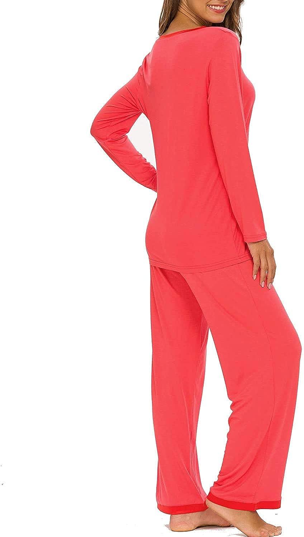 Hefunige Womens Pajama Set Long Sleeve Sleepwear Scoop Neck Soft Pjs Sets S-4XL