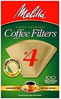 Melitta Cone Coffee Filters, Natural Brown #4, 100 Count (Pack of 3)