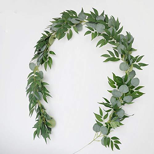 GYNFJK Rattan Simulationspflanze Eukalyptus künstliche Eukalyptusblatt Rattan Efeu Hochzeitsfeier Dekoration