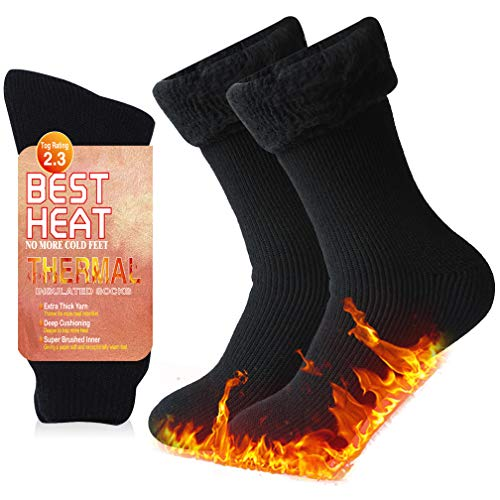 Mens Winter Socks, Ristake Thermal Crew Socks Heated Insulated Socks for Men Ski Socks Outdoor Activities Athletic Ultra Warm Socks Extreme Cold Boot Socks for Hiking Trekking Skiing Snowboarding