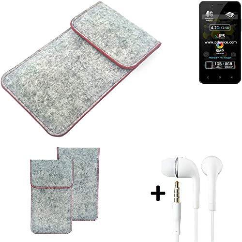 K-S-Trade® Handy Schutz Hülle Für Allview P4 Pro Schutzhülle Handyhülle Filztasche Pouch Tasche Case Sleeve Filzhülle Hellgrau Roter Rand + Kopfhörer