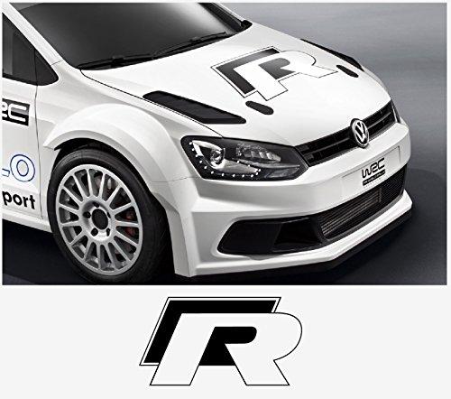 snstyling.com Aufkleber passend für VW Motorhaube R haube Aufkleber 50cm Golf Beetle Polo Passat Bora Lupo (Weiss – Schwarz)