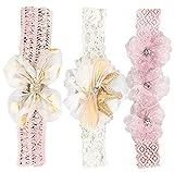 Lvjkes baby haarband, Baby Mädchen Stirnbänder, 3 Kinderstirnbänder, Polka Dot Garn und Bowknot Blumen, geeignet für Kinder und kleine Mädchen(weiß und rosa)